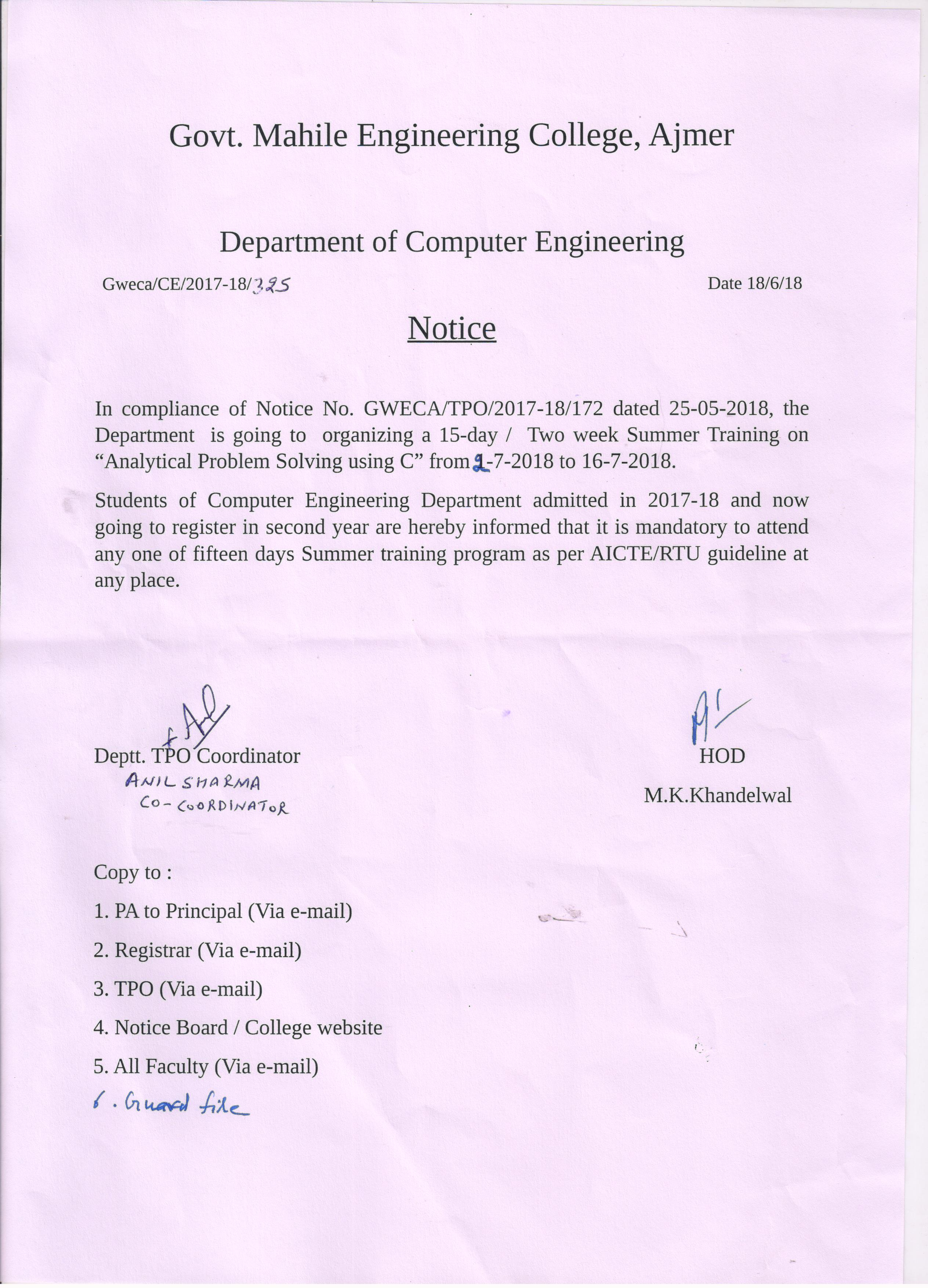 notice for summer training on analytical problem solving using c